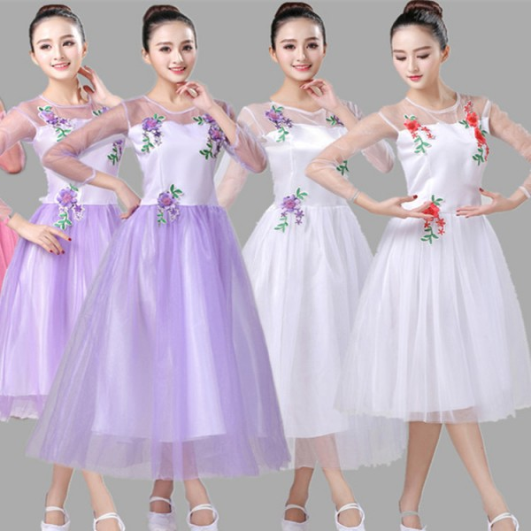 fa135a75e1a8 Modern dance dress for women white violet red girls singers chorus group  stage performance princess dresses