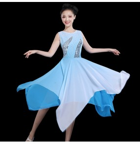 Modern dance dresses for women Blue gradient color ancient traditional classical dancers singers drama video performance dresses