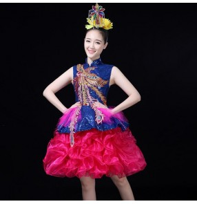 Modern dance dresses for women girls royal blue royal blue pink paillette jazz singers gogo dancers stage performance night club dancing outfits