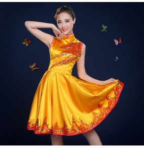 Modern dance dresses jazz singers short length red gold green royal blue gogo dancers drama cosplay studio performance dress