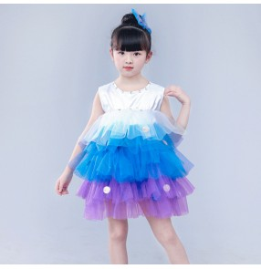 Modern dance jazz singers chorus stage performance puff skirts dresses for girls children school dance studio competition cosplay dresses costumes