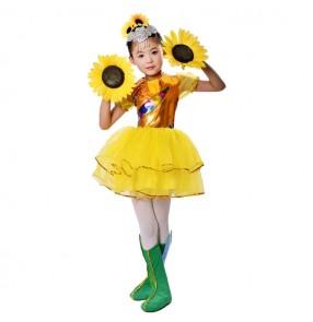 Modern dance jazz singers stage performance costumes for children girls kindergarten gold sunflowers drama tv cosplay dance wear dresses