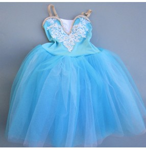 Modern dance kids ballet dresses baby girls stage performance princess dance long dresses