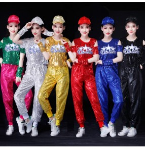 Modern dance outfits for female girls hiphop cheer leaders school stage performance group gogo dancers gold red black silver blue paillette dance costumes top and pants and hat
