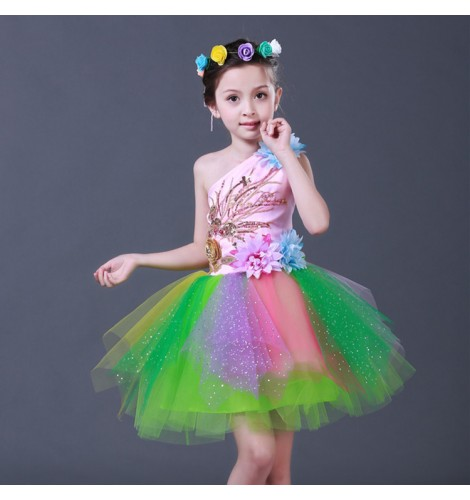 97585d777ccf Modern dance rainbow fairy dresses for girls children kids jazz singers  chorus party stage performance dancing costumes puff skirts dress costumes