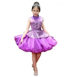 Modern dance singer host chorus solo dresses for girls children kids stage flower girls evening party model show performance cosplay costumes clothes