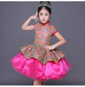 Modern dance singers host chorus stage performance dresses for kids children jazz princess solo cosplay costumes evening party dresses