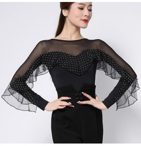 Modern polka dot Ballroom latin dance body tops female Latin dance professional dance clothes body tops national standard ballroom dance clothes