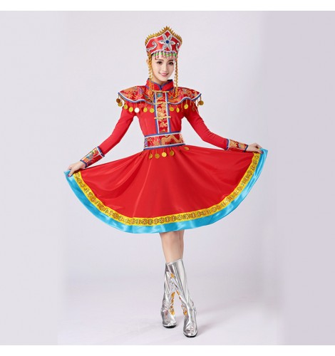 6de544ec56d7 Mongolian dance dresses for female women red color stage performance chinese  folk dance robes costumes