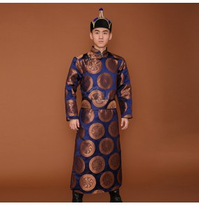 Mongolian dance robe for male satin long Mongolian clothing ethnic minority clothing performance dance daily life clothing
