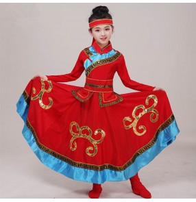 Mongolian dress Girtls chinese folk dance costumes red white colored mongolia dress drama cosplay robes dresses