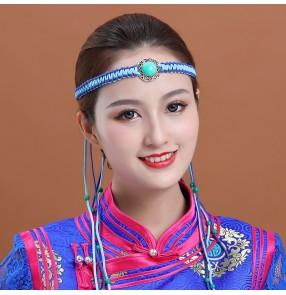 Mongolian leather rope headband unisex Mongolian dance performance headwear adjustable minority headwear hair accessories