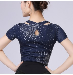 Navy ballroom latin dance tops for women stage performance pratice exersises salsa chacha dance tops blouses for female