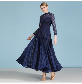 Navy lace ballroom dancing dresses for women practice exercises waltz tango dance dress