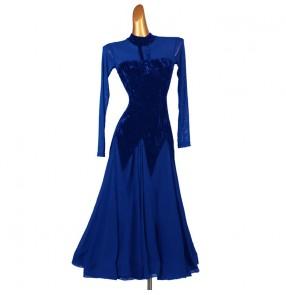 Navy royal blue velvet competition ballroom dancing dresses for women girls stage performance ballroom waltz tango dance dress