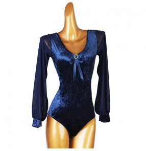 Navy velvet competition ballroom latin dance bodysuits for women female stage performance salsa chacha dance catsuits tops