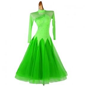 Neon green competition ballroom dancing dresses for women girls diamond waltz tango ballroom dance dress for female