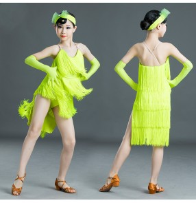 Neon  yellow tassels competition latin dance dress for girls stage performance professional salsa dance dress for kids