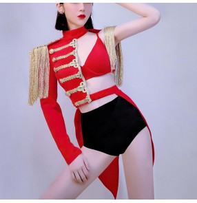 Night club red color jazz dance ds costumes for women sexy gogo lead dancer nightclub female singer military cosplay uniform carnival stage costumes