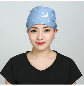 Nurse surgical cap operating room doctor work cap dustproof cotton printed headscarf beautician hat for women and men