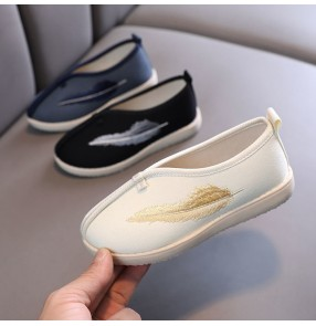 Old Beijing chinese hanfu shoes for children Boys handmade cloth shoes for kids Ethnic Chinese style emperor cosplay embroidered shoes Hanfu model show shoes