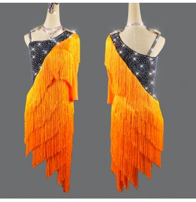 orange tassels competition latin dance dresses for women girls stage performance salsa rumba chacha latin dance dresses for female