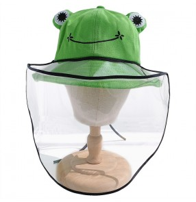 Outdoor Anti-Spitting Face Shield frog fisherman Hats for kids baby TPU full face mask Protective Cover Cap Dust proof visor hat