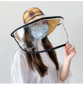 outdoor antivirus spray saliva fisherman hat with clear face shield dust proof folding sun cap for women