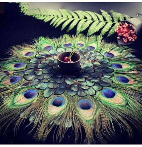 Peacok Feather table mat Cup mat Creative home living room decoration peacock feather cushion modern European style table decor