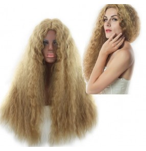 perm corn wig synthetic african american wigs women hair wigs heat resistant long curly wig blonde fluffy Festival performance hair