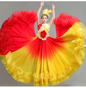 Petals red with gold gradient flamenco dance dress for women Paso double Spanish bull dance dress opening dance big swing skirt Group stage dance costume