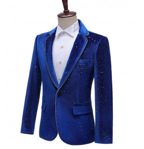 Photo studio men's host go go dancers stage performance dress suit black royal blue blazers velveteen bronzing border suit singer emcee costume