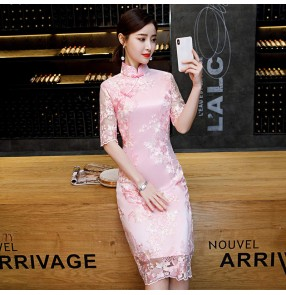 Pink champagne Lace chinese dress oriental retro chinese traditional qipao dress for women girls improved cheongsam dress girl mid-length model show host singers Chinese style dress