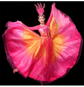 Pink Flamenco dresses paso double dance dresses for women song accompaniment ballroom dance performance costume ballroom performance costume choir stage costumes
