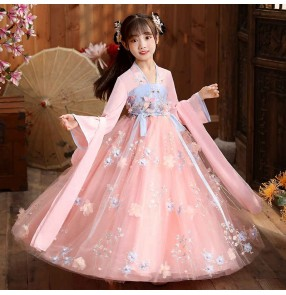 Pink flowers Chinese Hanfu for Girl Super Fairy princess Dress Chinese Style tang dynasty empress dresses Girl Fairy Tang Suit