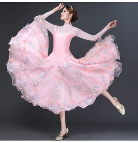 Pink flowers competition ballroom dancing dress for women girls waltz tango foxtrot smooth standard ballroom dance dress for women