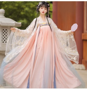 Pink Hanfu For Women Chinese traditional Folk costumes Han Tang Ming dynasty princess fairy cosplay dance dress ancient oriental han tang empress gown