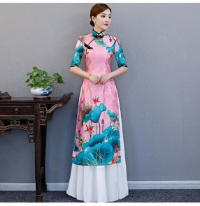 Pink lotus printed Chinese dresses oriental traditional qipao dresses stage performance evening party dresses cheonsam