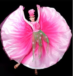 Pink petals flamenco dress for women girls spanish bull dance dresses flowers Opening dance big swing skirt performance costume chorus ballroom dance dresses