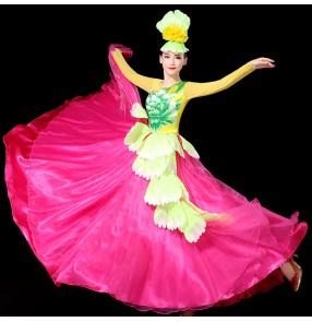 Pink petals flamenco dresses for women girls Opening dance performance dress spanish bull dance dress big swing skirt ballroom dance costume stage chorus dresses