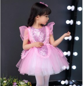 Pink princess dress for girls fluffy gauze skirt children's chorus performance costume flower girls dress toddler dance costumes modern dance ballet dresses