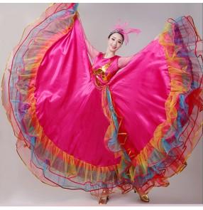 Pink red flamenco dance dress for women girls spanish bull dance swing skirt performance chorus dress opening ballroom dance dress for female