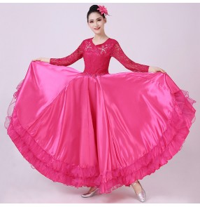 Pink red flamenco dance dress opening spanish bull dance dress for women choir chorus stage performance dresses ballroom dance dress