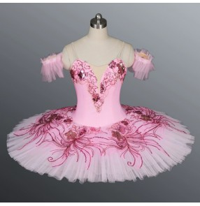 Pink Sleeping Beauty Ballet Tutu Skirt ballet dance dress for kids chidlren pancake classical ballet dance skirt Girls Puffy Tutu Skirt Performance Costume