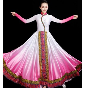 Pink with white Mongolian dance costume Mongolia performance clothing female ethnic style dress modern art test Mongolian dance big skirt