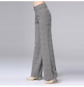 Plaid women's ballroom latin dance long pants female professional stage performance wide legs fashion swing pants trousers