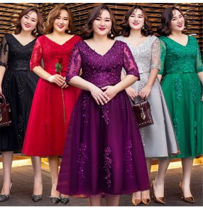 plus size Evening dress for women wedding party bridesmaid dresses cocktail party banquet party dress singers host performance dress