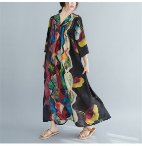 Plus size summer dress women abstract printed loose style long dress fashion swing large dress for female