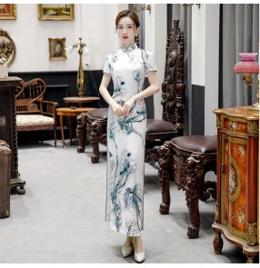Plus size Women chinese dresses qipao oriental cheongsam catwalk long cheongsam blue and white porcelain female retro dresses