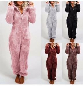 Plush thick plush jumpsuit hooded pajamas tracksuit rompers for women and men parent-child wear